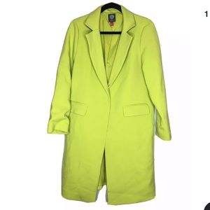 Vince Camuto Lime Green One Button Trench Coat